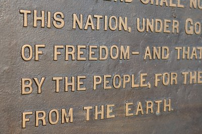 Words from the Gettysburg Address at the Lincoln Monument.