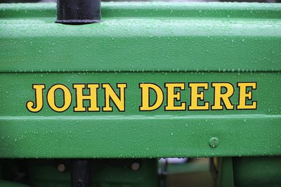Raindrops on a vintage John Deere tractor