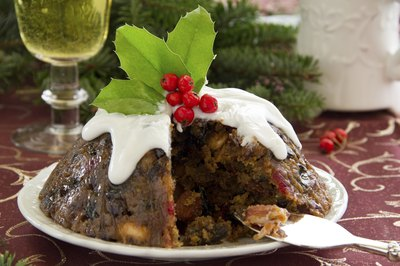 Christmas pudding with brandy and cream sauce.