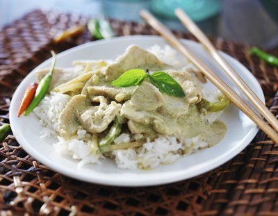 Thai green curry with Thai basil on top.