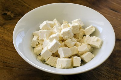 Bowl of feta cheese cubes