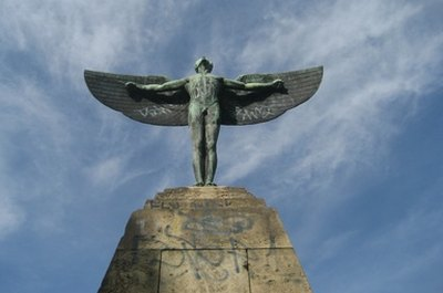 This statue of Icarus shows him lifting his notorious wings, which his father Daedalus invented.