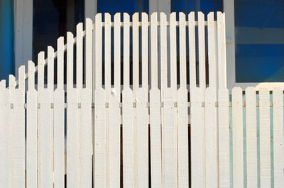Picket fencing sections can be installed temporarily using freestanding posts.
