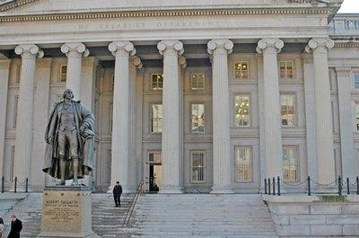 The U.S. Department of the Treasury sells treasury bonds to investors around the world.