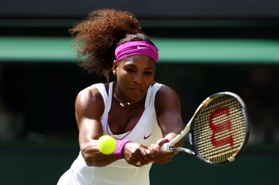 Serena Williams on her way to victory at Wimbledon in 2012.
