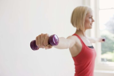 Lateral arm raises with 3-pound dumbbells sounds easy, until the 30th repetition!