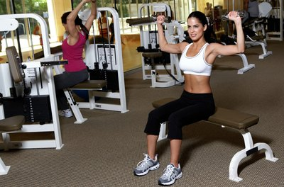 The weight-training area of the gym is not just for men.