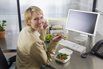 Eating at the desk is a very common practice at most companies.