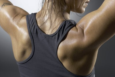 Perform strength-training moves to tone shoulder muscles.