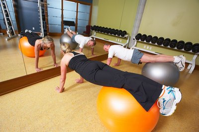 Balls, weights and resistance bands can be used in circuit training.