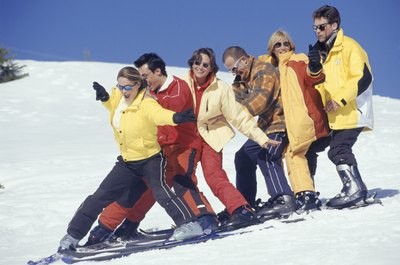 A group effort demonstrating the wedge, also called the snowplow.