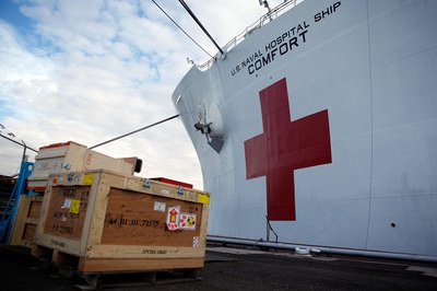 USNS Comfort, a naval hospital ship, is crewed by Navy civilian mariners.