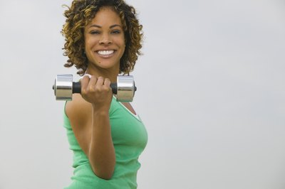 Free weights include dumbbells and kettlebells.