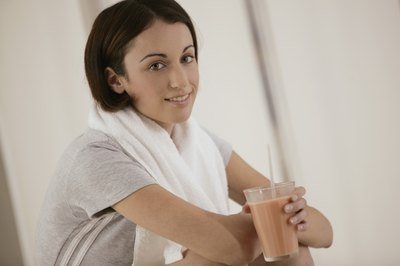 Drinking a protein shake after you swim helps rebuild lost muscle mass.