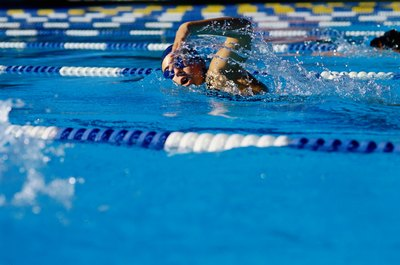 Swim strokes like freestyle, for which your elbows are bent, force your triceps to lengthen.