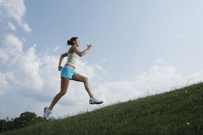 Running up a 30-degree hill activates about 90 percent of the muscle tissue in your calves.