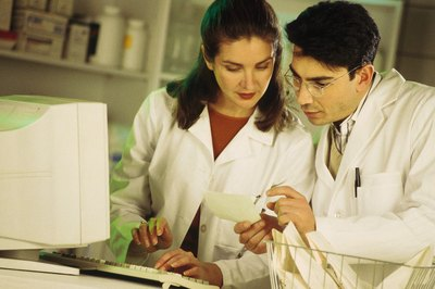 Pharmacy technicians utilize math skills to calculate the correct dosages to enter into the computer.