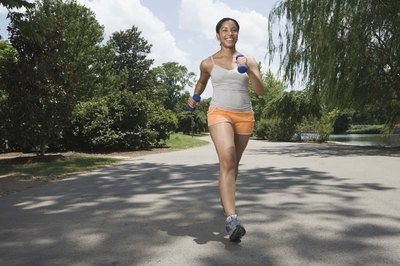 Use light weights, no more than 3 pounds, when you run.