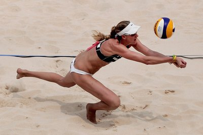 Kerri Walsh of the United States digs a volleyball during a match in Beijing, China.
