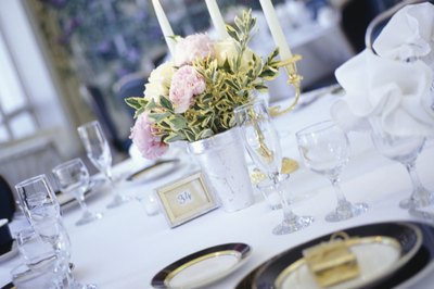 Table settings for your wedding can be rented, purchased or borrowed.