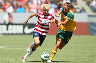 Soccer star Megan Rapinoe uses her quickness to beat defenders.