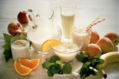 Dairy and non-dairy proteins combined with fresh fruit make a healthful shake.