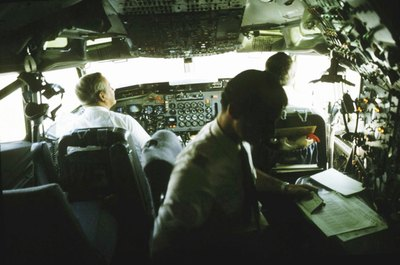 Pilots communicate with air traffic controllers from the cockpit.