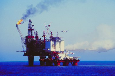 Offshore oil rigs pump Brent crude from the North Sea seabed.