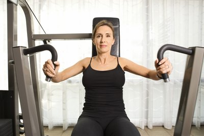 The chest press works the pectorals, the muscles in the front of your upper torso.