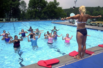 Water aerobics can be fun and challenging.