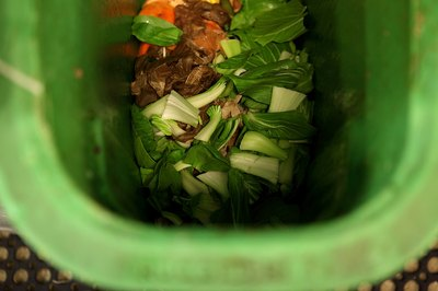 Avoid compost bin odor by adding enough brown composting material to balance wet fruit and vegetable waste.