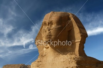 Missing facial features of the Great Sphinx.