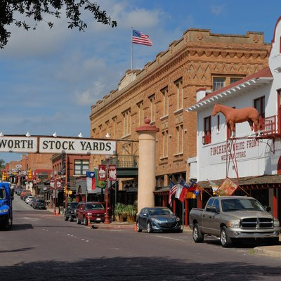 Fort Worth Stockyards Historic DistrictExchange Avenue, The Stockyards Hotel, And Fincher'S White Front Western Store In The Fort Worth Stockyards Historic Distric. Nrhp Ref 76002067.