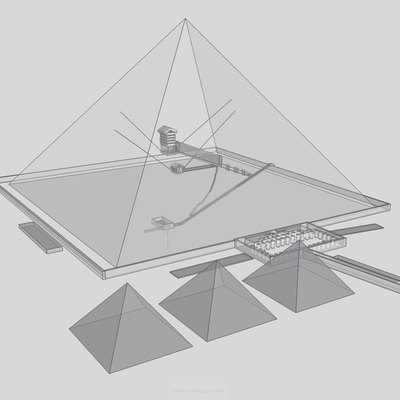 Transparent view of Khufu's pyramid from SE.