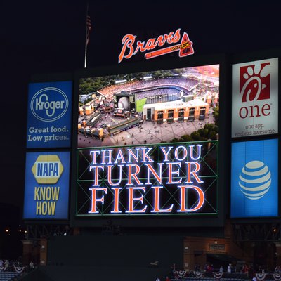 The video board at the stadium displays a thank you message to Turner Field following the conclusion of the post game ceremonies.