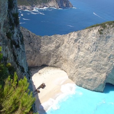 The famous shipwreck beach in Zante, Greece