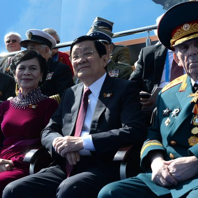 Former Vietnamese President Trương Tấn Sang with his first lady during the Moscow Victory Day Parade, 9 May 2015.