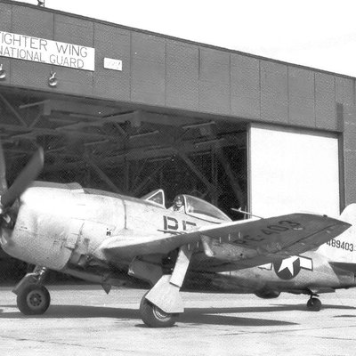 128th Fighter Squadron Republic P-47N-25-RE Thunderbolt 44-89403 Marietta GA May 1946. This aircraft was part of the last production block of P-47s at Republic Aircraft, Farmingdale, New York