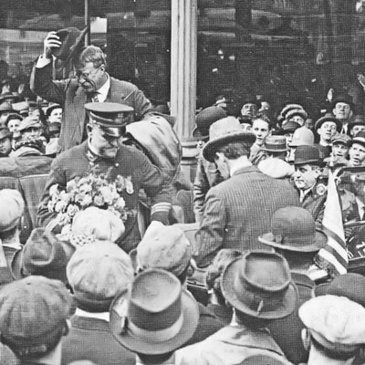 Theodore Roosevelt appearing in Allentown on 26 October 1914. Roosevelt spoke from the balcony of the Allen Hotel in the Northeast corner of Center Square at a campaign appearance for Republican canidates for Senator and Govenor of Pennsylvania. Roosevelt is shown getting into his car, for the return to the CRRNJ Terminal Station prior to his return to New York City.