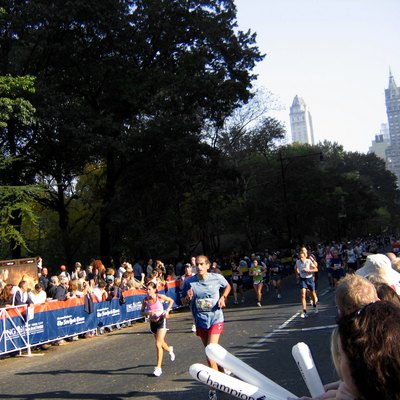 The 2005 New York City Marathon, on Central Park South near the finish line.