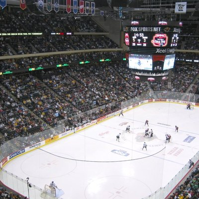 A faceoff between the University of North Dakota Fighting Sioux and the Saint Cloud State University Huskies during the 2006 WCHA Final Five at the Xcel Energy Center.