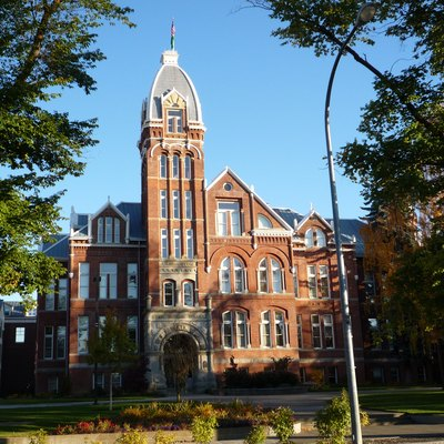 Iconic Barge Hall at Central Washington University in Ellensburg, Washington.