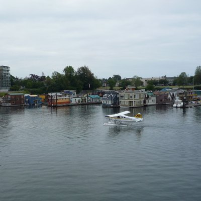 Fisherman's Wharf, on the Inner Harbour of Victoria, British Columbia, Canada. It is popular with tourist for all its houseboats (some of which are cafes) and views of the harbour and seaplanes.