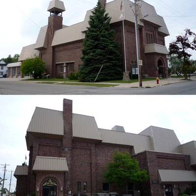 Opposite views of the Cheboygan Opera House, built on the site of previous theaters dating back to the 1800s, now contains the town's city hall, police headquarters, and fire station, as well as the theater, Cheboygan, Michigan, USA.