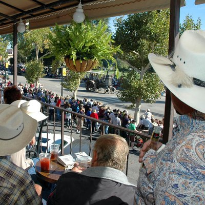 Paso Robles Pioneer Day Parade watchers gather in the historic Paso Robles Inn for a birds-eye view of the event.