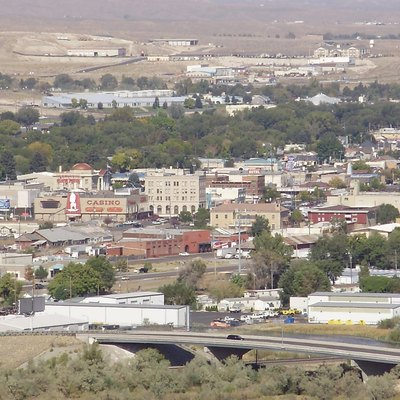 View of downtown Elko, Nevada from a bluff to the south.