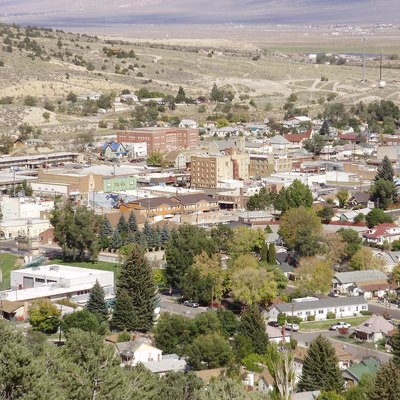 View of downtown Ely, Nevada from the lower slopes of Ward Mountain.