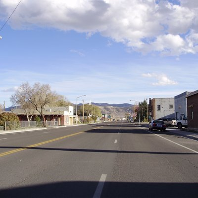 View east along Nevada State Route 223 (6th Street) near Wells Avenue in downtown Wells, Nevada