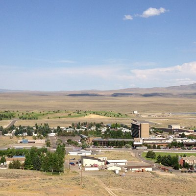 View of Jackpot, Nevada from a hill to the west