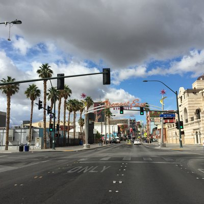 View north at the north end of Nevada State Route 582 (Fremont Street) at the Fremont East District in downtown Las Vegas, Nevada